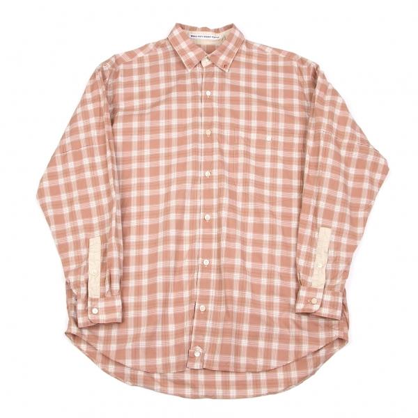 パパスPapas コットンチェック柄長袖シャツ 濃淡赤白M【中古】