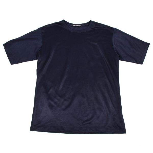 イッセイミヤケメンISSEY MIYAKE MEN エステルコットンジャージ素材Tシャツ 紺3【中古】