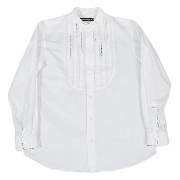 イッセイミヤケメンISSEY MIYAKE MEN ステッチバンドカラーモーニングシャツ 白黒2【中古】