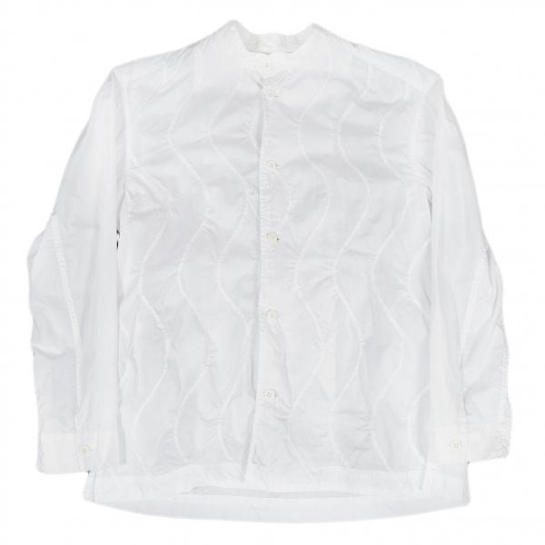 イッセイミヤケメンISSEY MIYAKE MEN ウェーブ切替バンドカラーシャツ 白2【中古】 【メンズ】