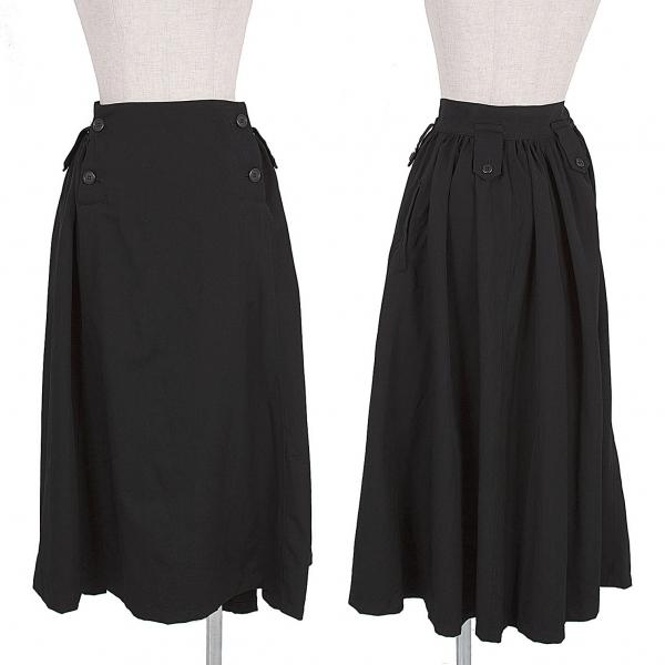 ワイズY's ウールギャバベルトループデザインギャザースカート 黒2【中古】 【レディース】