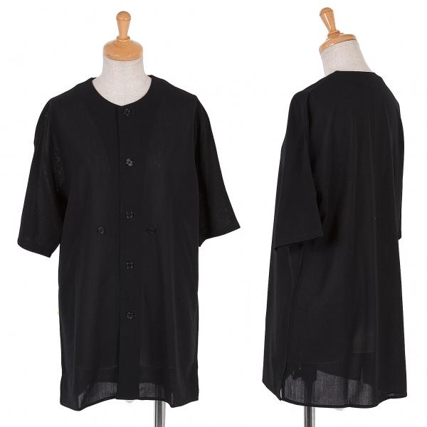 ワイズY's ノーカラーウール半袖シースルーシャツ 黒M位【中古】