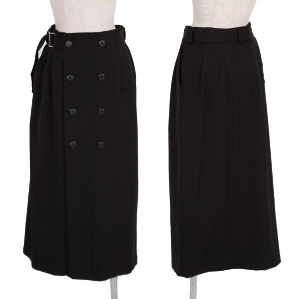 ワイズY's ダブルブレストコートデザインウールストレッチスカート 黒M位【中古】