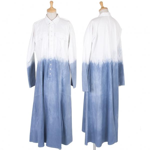 ヨウジヤマモトファムYohji Yamamoto FEMME グラデーション染めプルオーバーシャツワンピース 白ブルーS【中古】