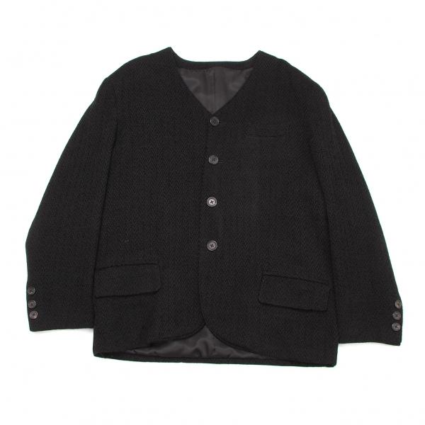 ワイズフォーメンY's for men 柄織りノーカラージャケット 黒M【中古】 【メンズ】