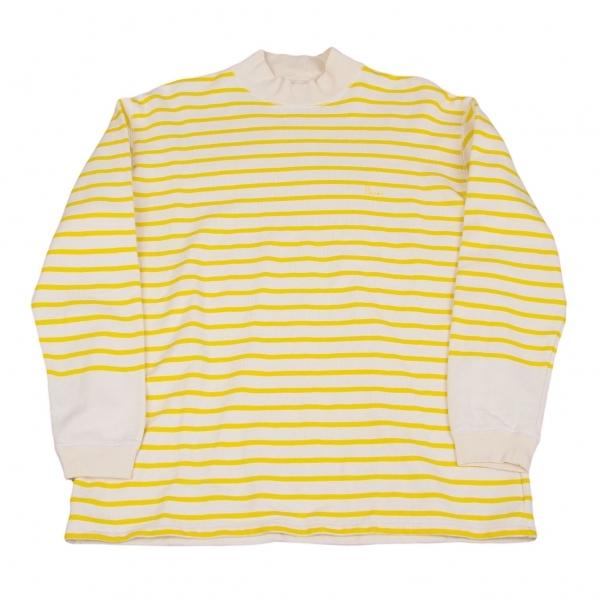 パパスPapas ボーダーハイネックスウェット 生成り黄色S【中古】 【メンズ】
