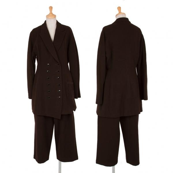 ヨウジヤマモトファムYohji Yamamoto FEMME ニットポケット装飾ウール多ボタンセットアップスーツ 茶M/S【中古】 【レディース】