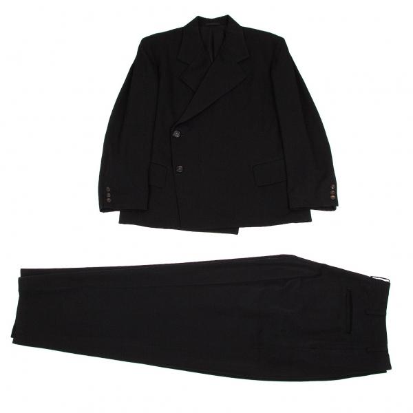 ワイズフォーメンY's for men ウールギャバダブルセットアップスーツ 黒M/S【中古】