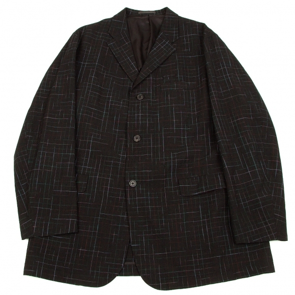 ワイズフォーメンY's for men かすれチェックウールジャケット 黒緑赤M【中古】 【メンズ】