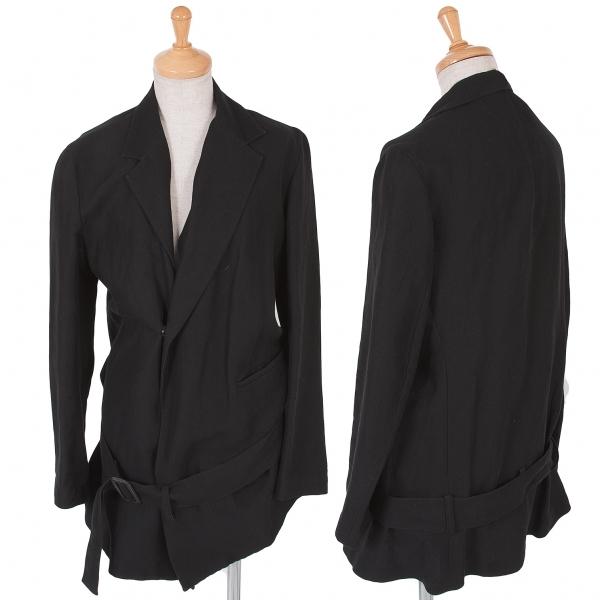 ワイズY's コットンリネン裾ベルトジャケット 黒3【中古】 【レディース】