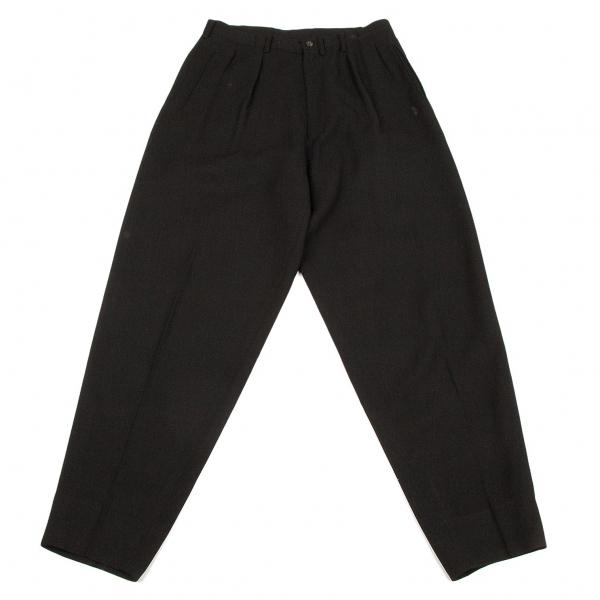 ワイズフォーメンY's for men ウールポリ格子織りパンツ 黒M位【中古】