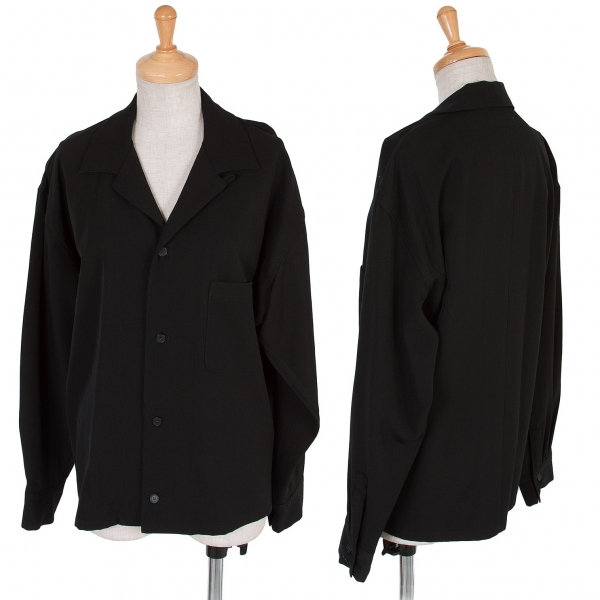 ワイズY's ウールギャバシャツジャケット 黒M位【中古】