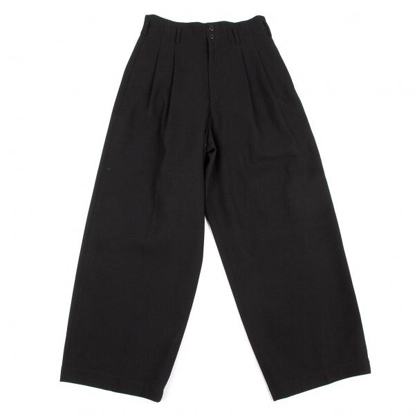アルファスピンALFASPIN ウールバックポケットデザインタックワイドパンツ 黒M【中古】