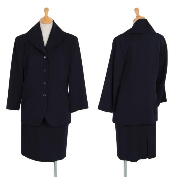 【SALE】マーガレットハウエルMARGARET HOWELL ウールギャバヘチマカラーセットアップスーツ 濃紺2・1【中古】 【レディース】