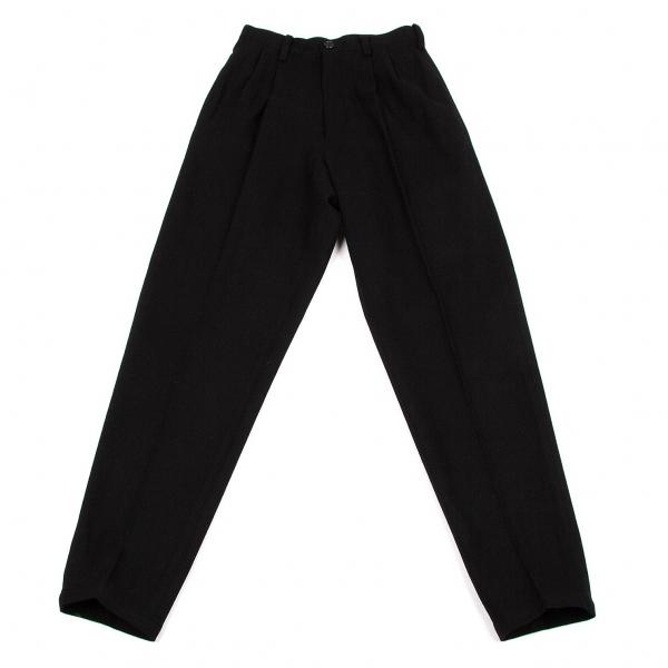 【SALE】ワイズY's ウールナイロンツータックパンツ 黒M位【中古】 【レディース】