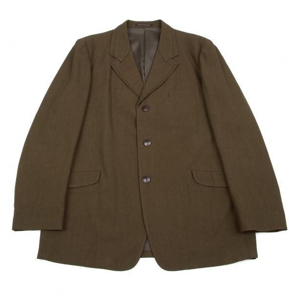 ヨウジヤマモトプールオムYohji Yamamoto pour homme レイヤーラペルウール3Bジャケット カーキ3【中古】 【メンズ】