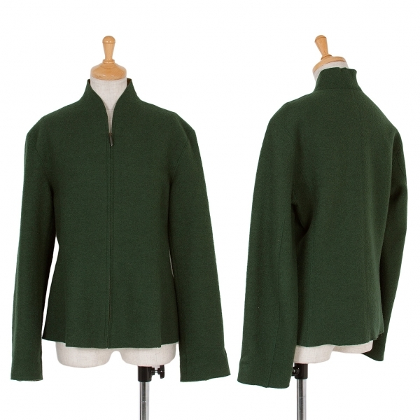 【SALE】ヨーガンレールJURGEN LEHL 圧縮ウールジップアップジャケット 緑マスタードM【中古】 【レディース】