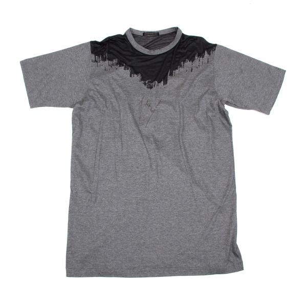 ヨウジヤマモトプールオムYohji Yamamoto POUR HOMME オパール加工半袖Tシャツ 杢グレー黒M【中古】 【メンズ】