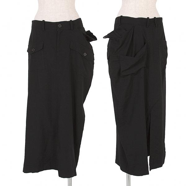 ワイズY's バックスリット二重ウエストデザインスカート 黒2【中古】
