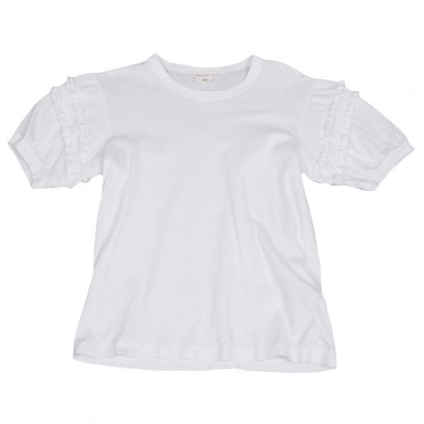 コムデギャルソンCOMME des GARCONS ギャザーフリル装飾Tシャツ 白S【中古】 【レディース】