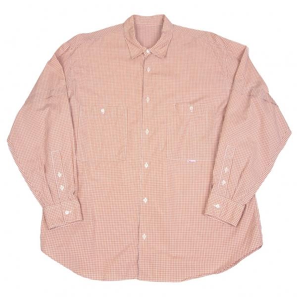 パパスPapas コットンギンガムチェックシャツ 茶白M【中古】