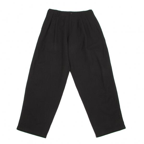 ワイズフォーメンY's for men ウールスリータック側章パンツ 黒L【中古】 【メンズ】