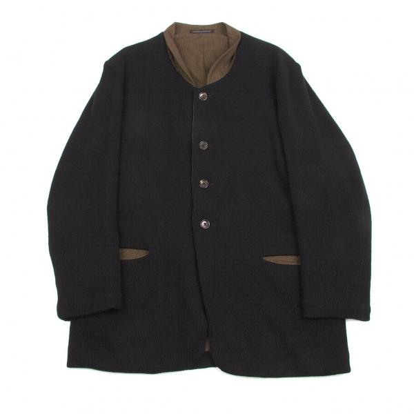 ヨウジヤマモトプールオムYohji Yamamoto POUR HOMME ニットリバーシブルデザインジャケット 茶黒M【中古】 【メンズ】