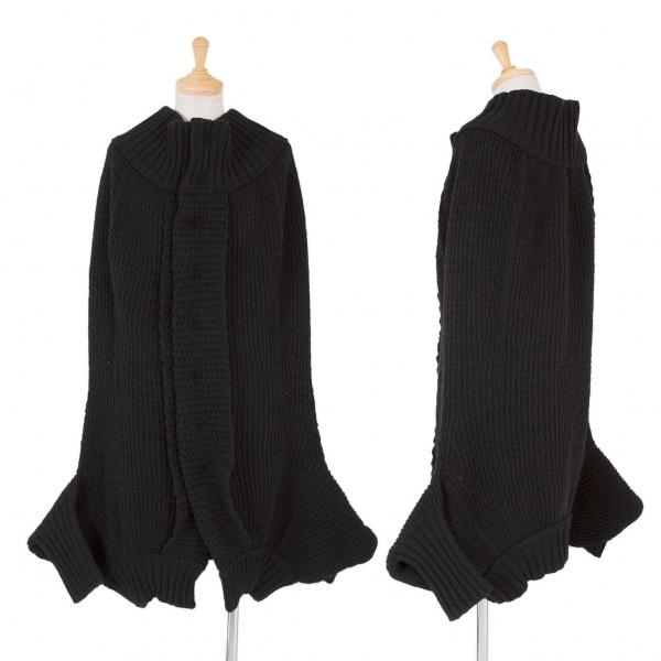 ワイズY's ウールローゲージニットマントジャケット 黒3【中古】
