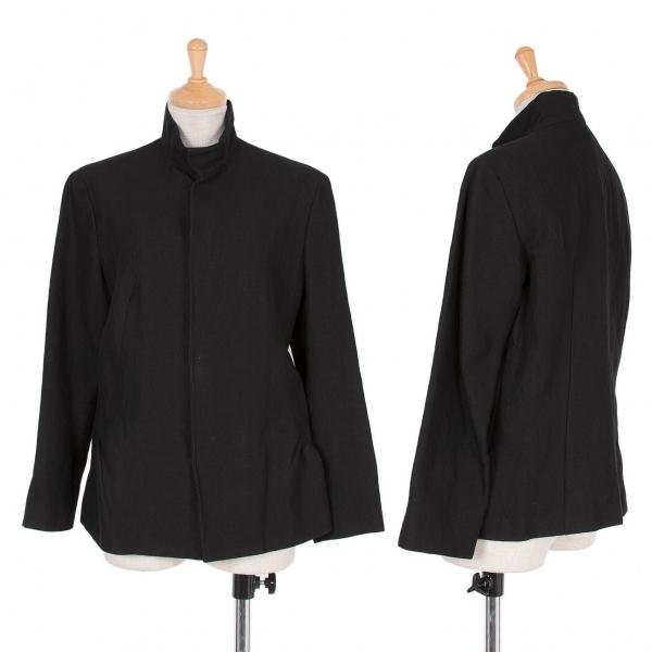 【SALE】ワイズY's コットンリネンスタンドカラージャケット 黒2【中古】 【レディース】