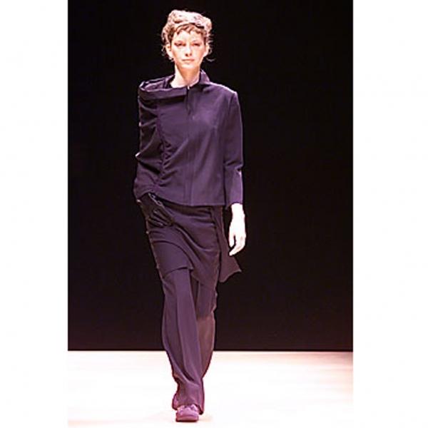 ヨウジヤマモトファムYohji Yamamoto FEMME ウールギャバ片袖ジップアップジャケット 紺1【中古】