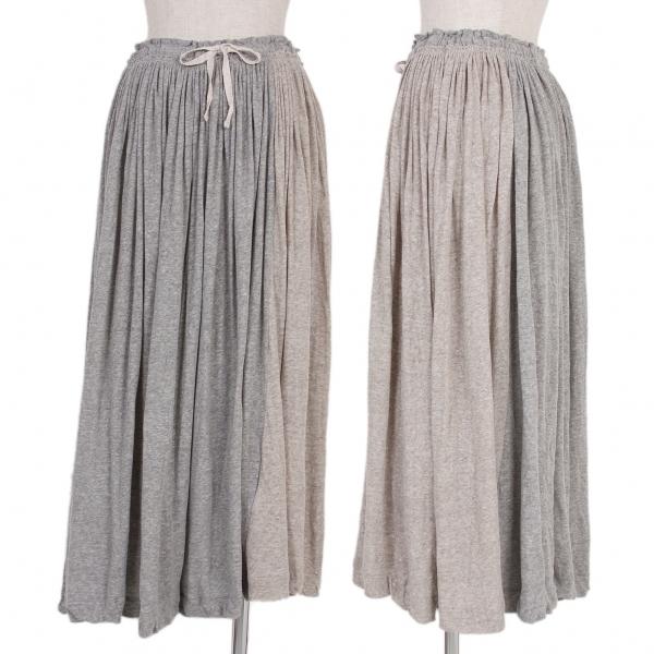 ワイズY's コットン切替ギャザースカート 杢ベージュ杢グレー2【中古】 【レディース】