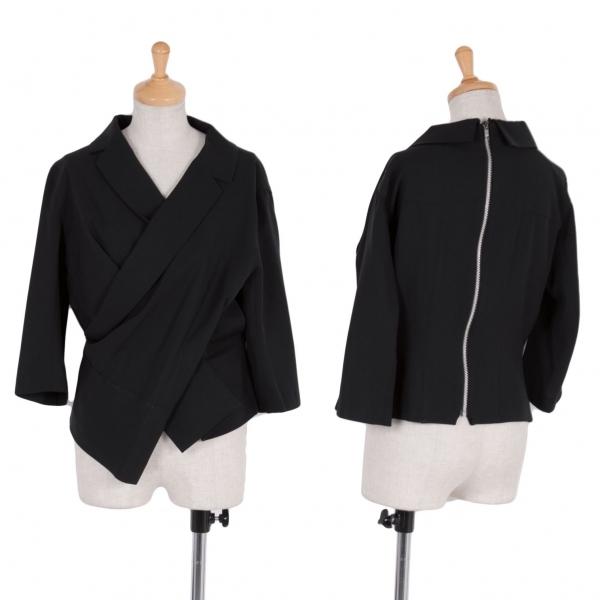ヨウジヤマモト ファムYohji Yamamoto FEMME ウールギャバカシュクール変形ジャケット 紺S【中古】
