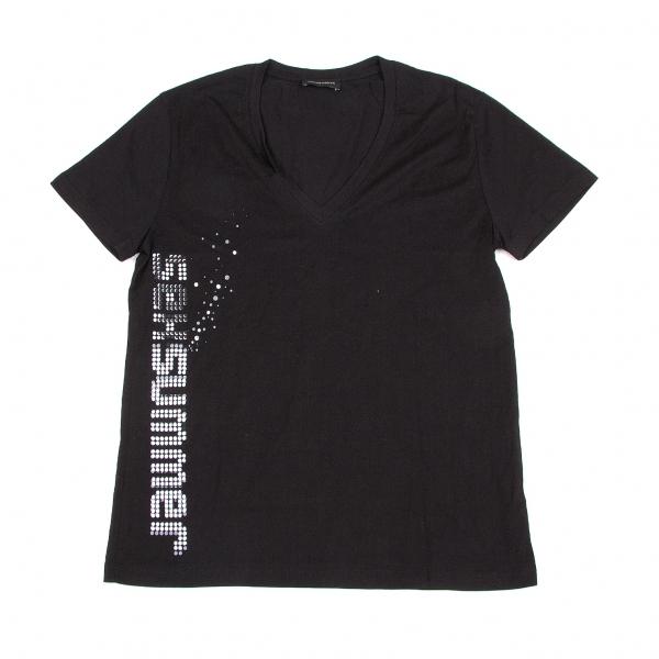 クリスヴァンアッシュKRIS VAN ASSCHE VネックプリントTシャツ 黒S【中古】 【メンズ】