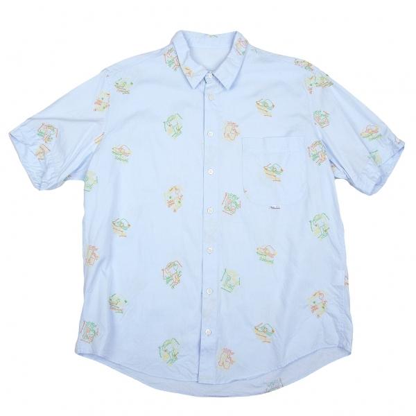 パパスPapas キャップ刺繍オックスフォード半袖シャツ サックス50L【中古】