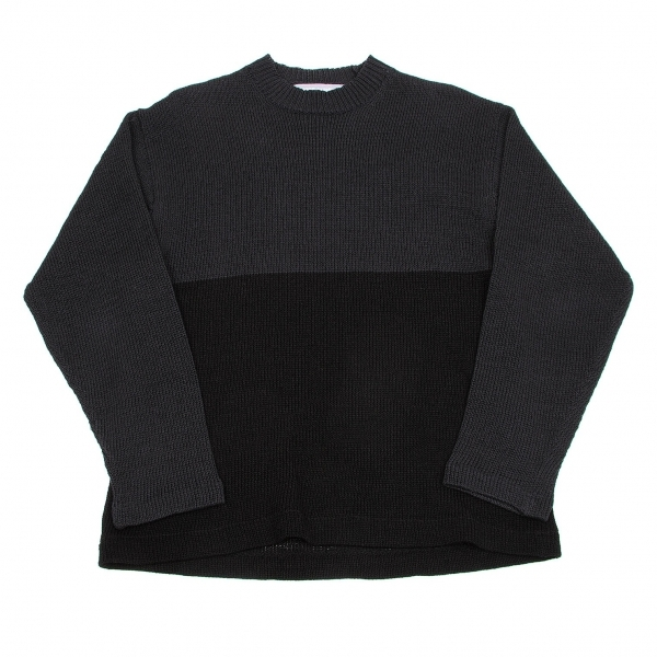 コムデギャルソン オムCOMME des GARCONS HOMME コットンアクリルバイカラーセーター 紺黒M位【中古】