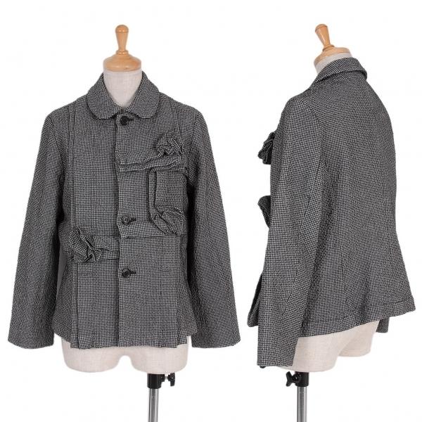 コムコム コムデギャルソンCOMME des GARCONS 製品染めつまみコサージュハウンドトゥースジャケット グレーS【中古】
