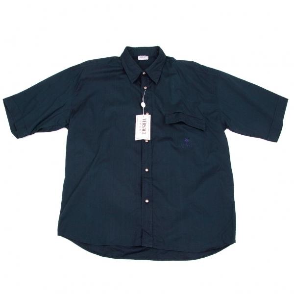 ヴェルサーチVERSACE SPORT サンバーストメタルボタン半袖シャツ 紺52【中古】 【メンズ】
