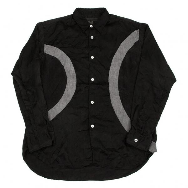 コムデギャルソン シャツCOMME des GARCONS SHIRT 製品染めカーブ切替長袖シャツ 黒グレーS【中古】