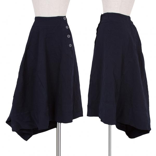コムデギャルソンCOMME des GARCONS ポリ縮製品染め切替スカート 紺S【中古】 【レディース】