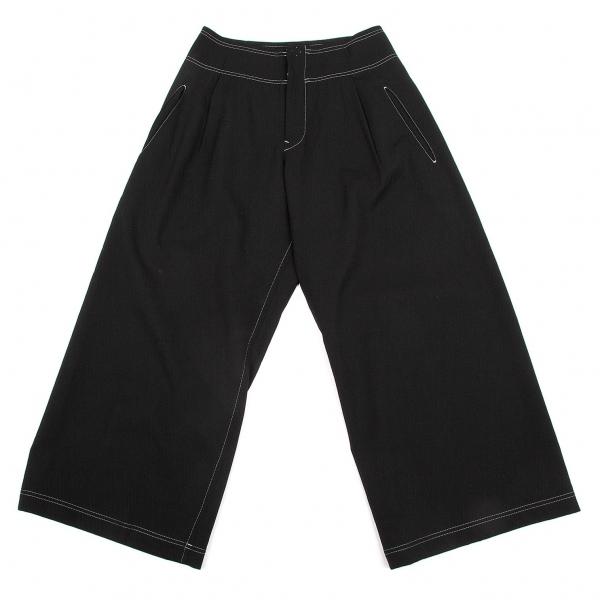 ワイズY's ウールギャバステッチワイドパンツ 黒白2【中古】