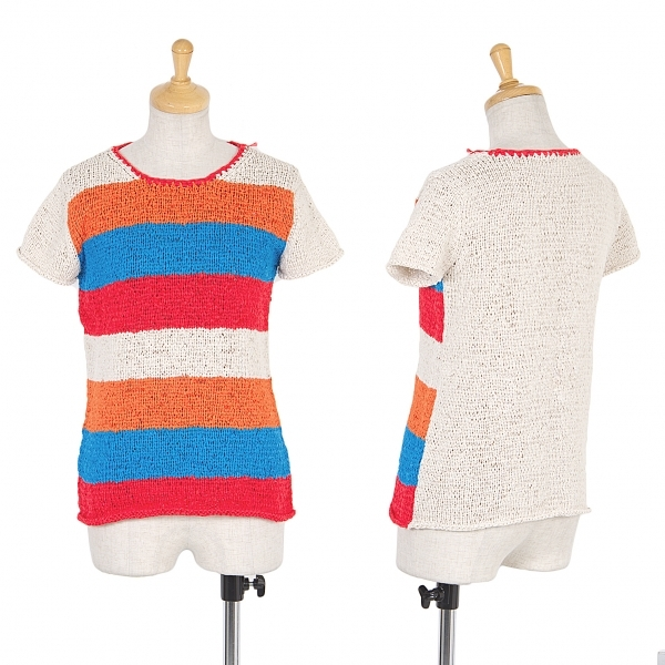 プリーツプリーズPLEATS PLEASE ボーダー編み込みTシャツ ベージュオレンジピンク青3【中古】