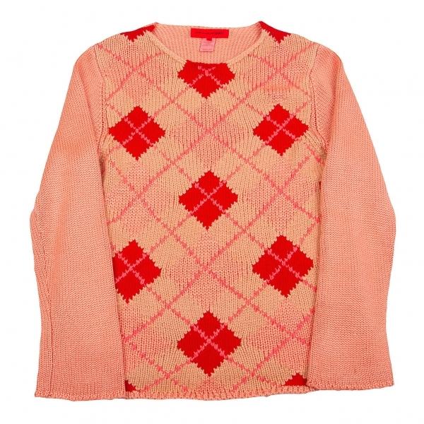 コムデギャルソン シャツCOMME des GARCONS SHIRT 製品染めアーガイルニットセーター ピンク赤ベージュS【中古】 【メンズ】