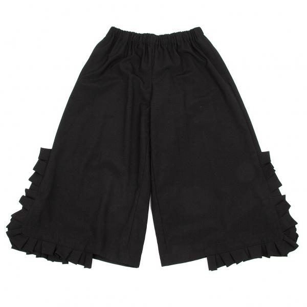 コムデギャルソンCOMME des GARCONS ウール裾フリルワイドパンツ 黒S【中古】