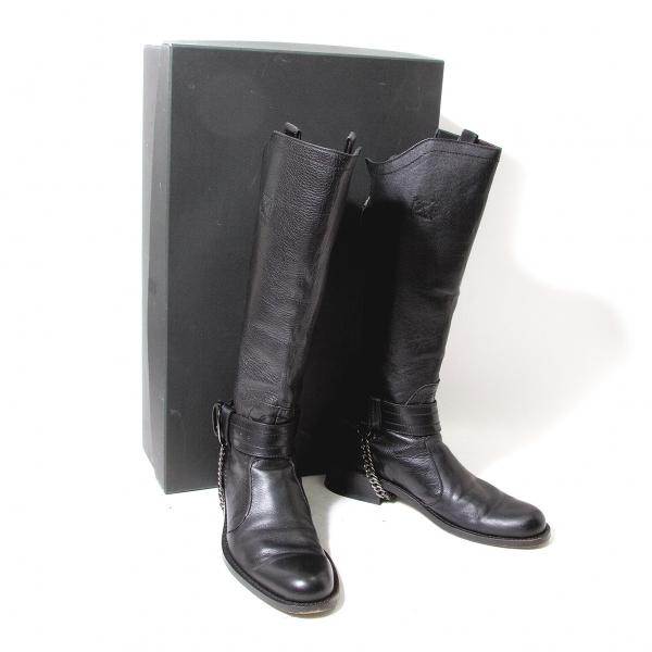 ジャンポールゴルチエJean Paul GAULTIER バックジップレザーロングブーツ 黒40(25位)【中古】