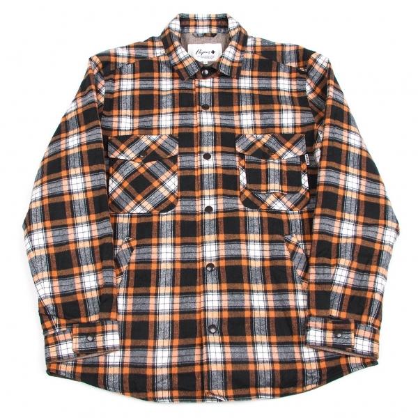 パパスプラスPapas+ 裏キルティングチェックシャツジャケット オレンジ黒白L【中古】 【メンズ】
