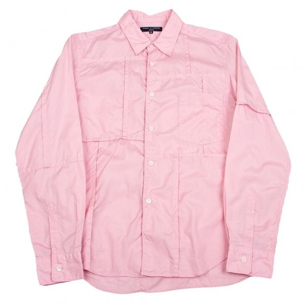 コムデギャルソン オムCOMME des GARCONS HOMME パッチワークパッカリングシャツ ピンクM【中古】
