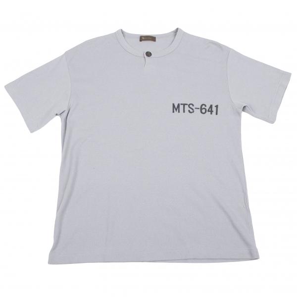 ワイズフォーメンY's for men プリントコットンポリヘンリーネックTシャツ グレー黒M位【中古】 【メンズ】