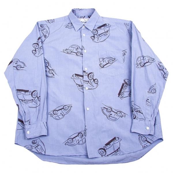 コムデギャルソン シャツCOMME des GARCONS SHIRT カープリントコットンシャツ ブルー黒M【中古】 【メンズ】