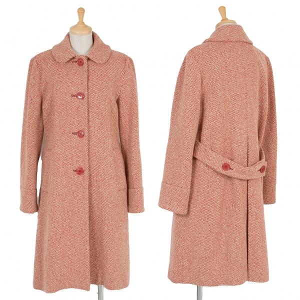 マークジェイコブスMARC JACOBS ベルト付ウールチェック丸襟コート 赤オフ6【中古】 【レディース】