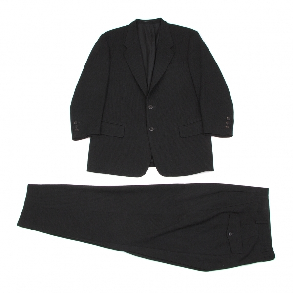 ヨウジヤマモト コスチュームドオムYohji Yamamoto COSTUME D' HOMME ウールシャドーストライプセットアップスーツ 黒S【中古】